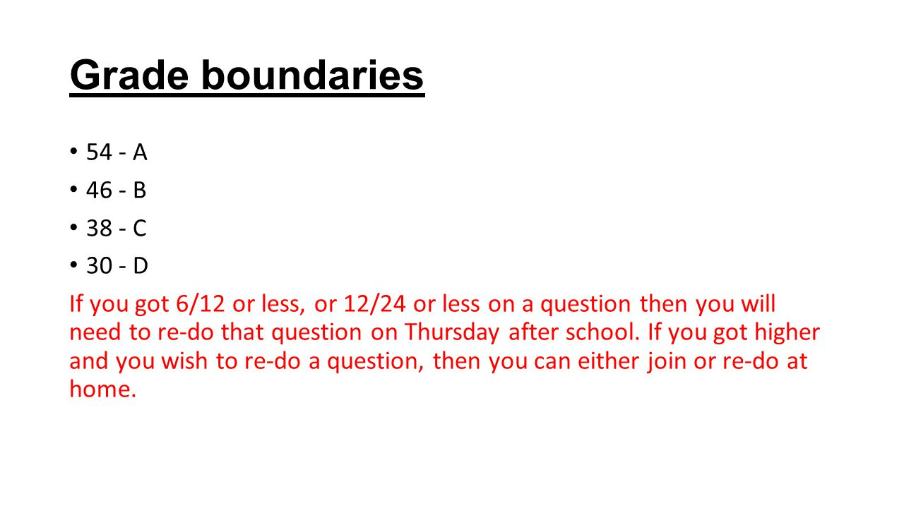 Grade boundaries 54 - A 46 - B 38 - C 30 - D