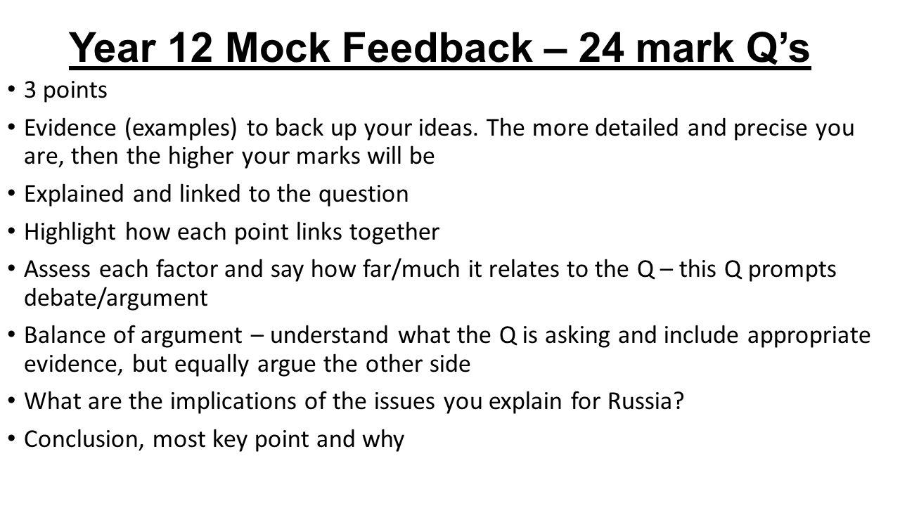Year 12 Mock Feedback – 24 mark Q's