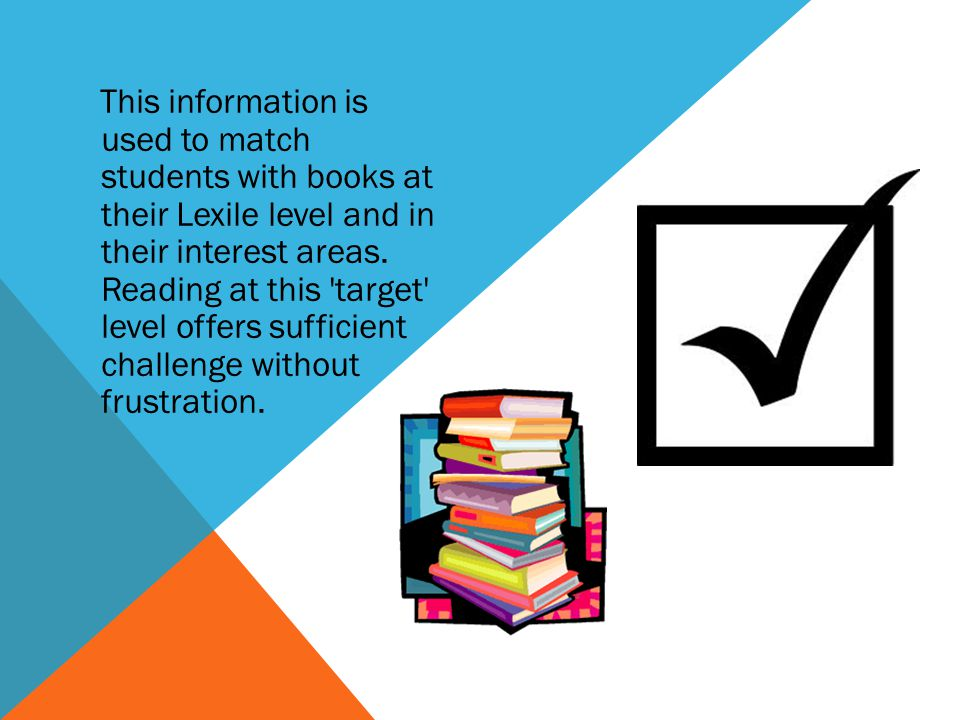 This information is used to match students with books at their Lexile level and in their interest areas.
