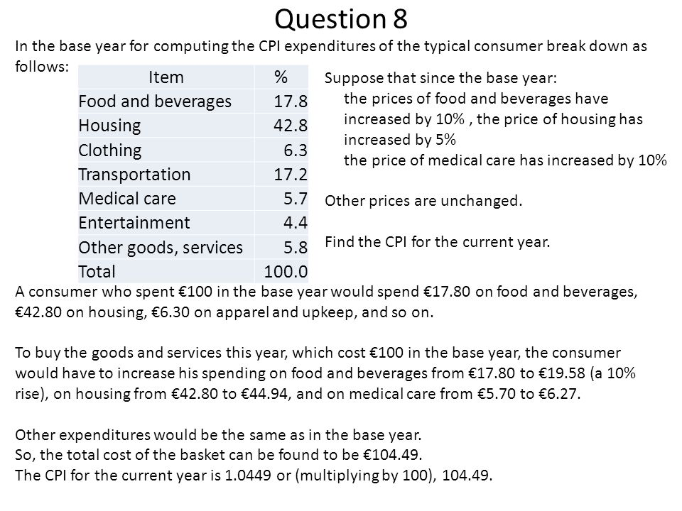 Question 8 Item % Food and beverages 17.8 Housing 42.8 Clothing 6.3
