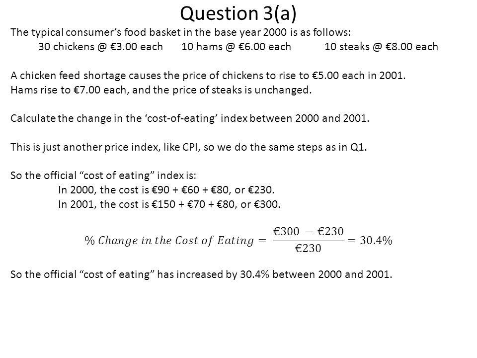 30 chickens @ €3.00 each 10 hams @ €6.00 each 10 steaks @ €8.00 each