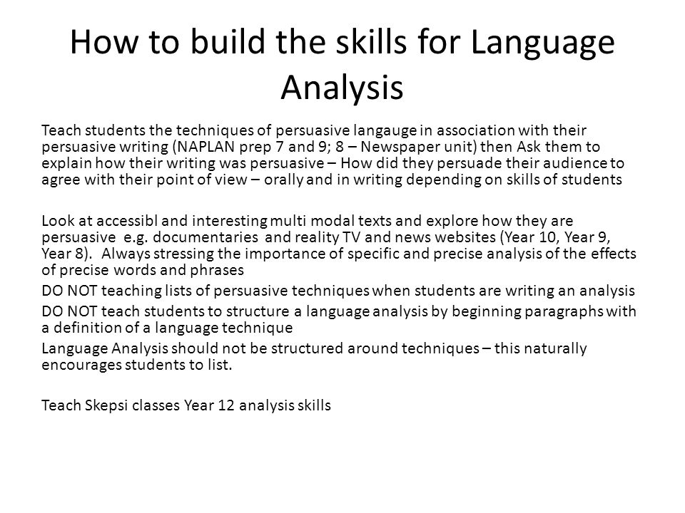 How to build the skills for Language Analysis