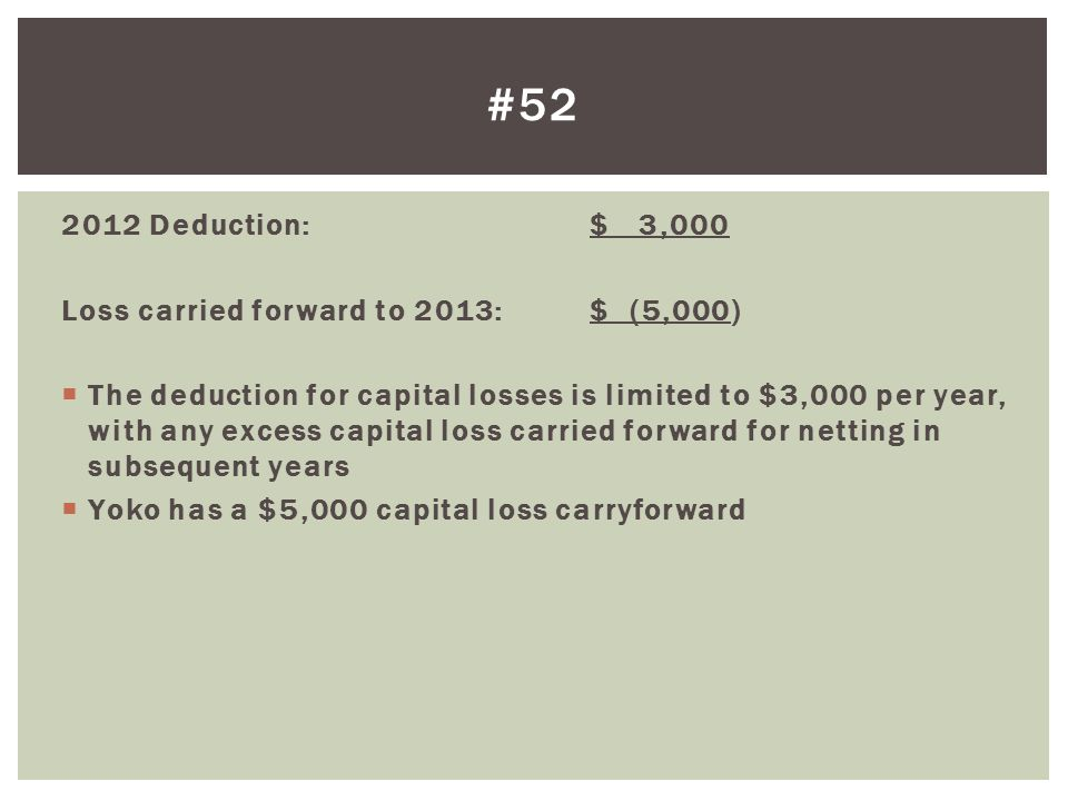#52 2012 Deduction: $ 3,000 Loss carried forward to 2013: $ (5,000)