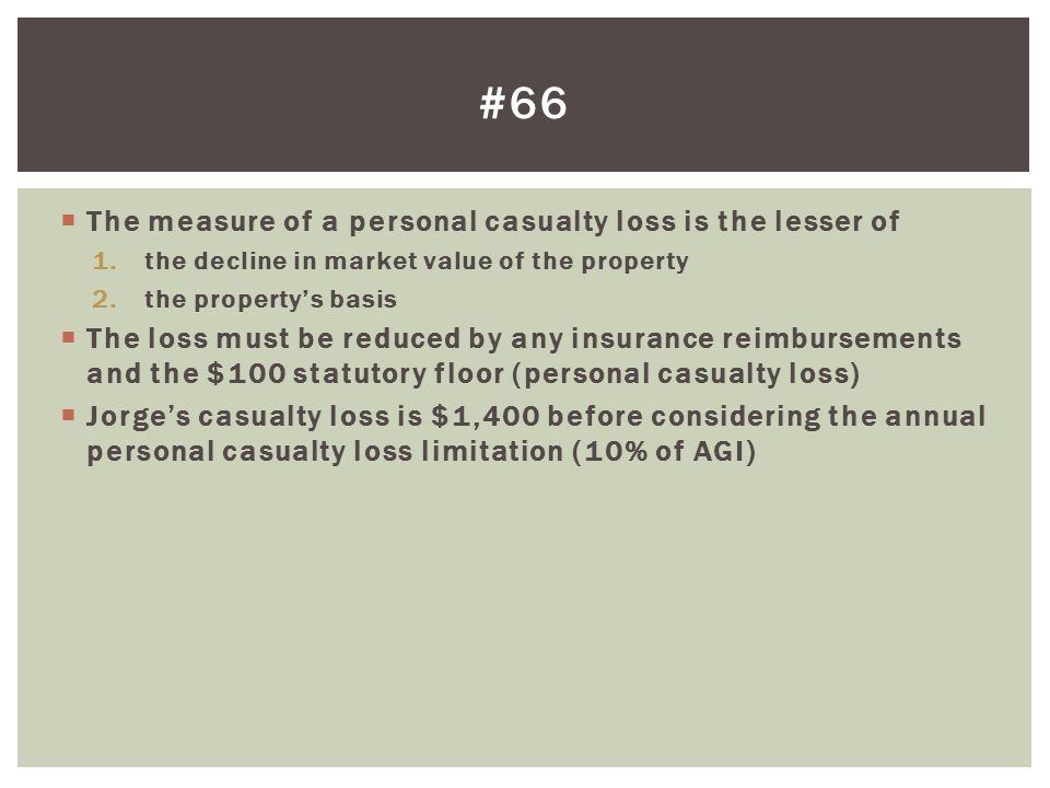 #66 The measure of a personal casualty loss is the lesser of