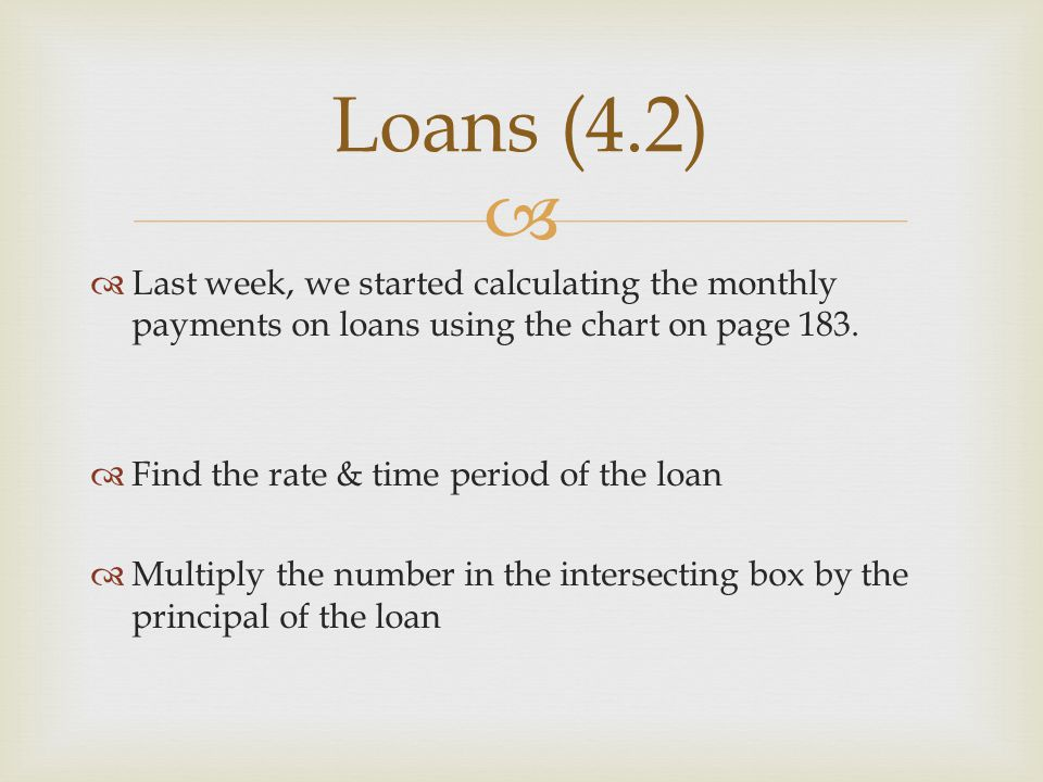 Loans (4.2) Last week, we started calculating the monthly payments on loans using the chart on page 183.