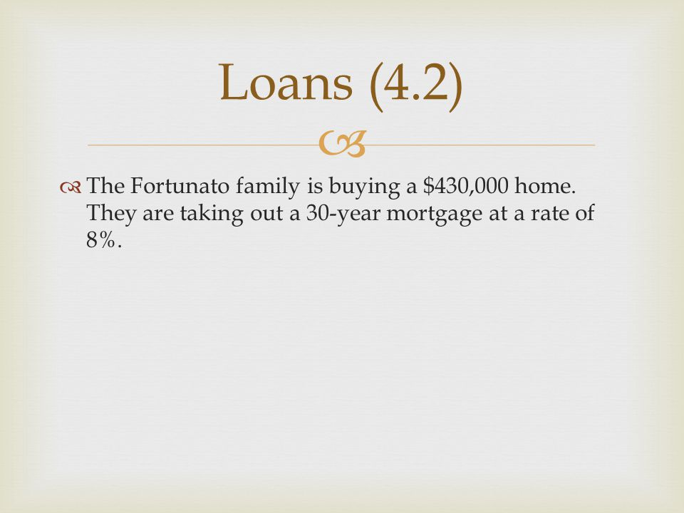 Loans (4.2) The Fortunato family is buying a $430,000 home.