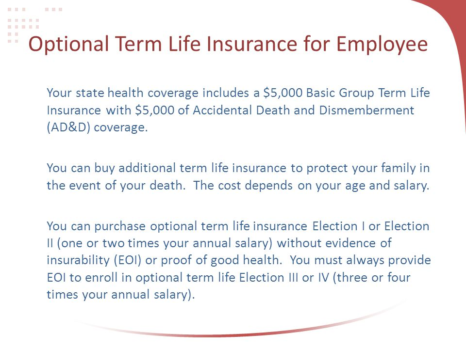 Optional Term Life Insurance for Employee