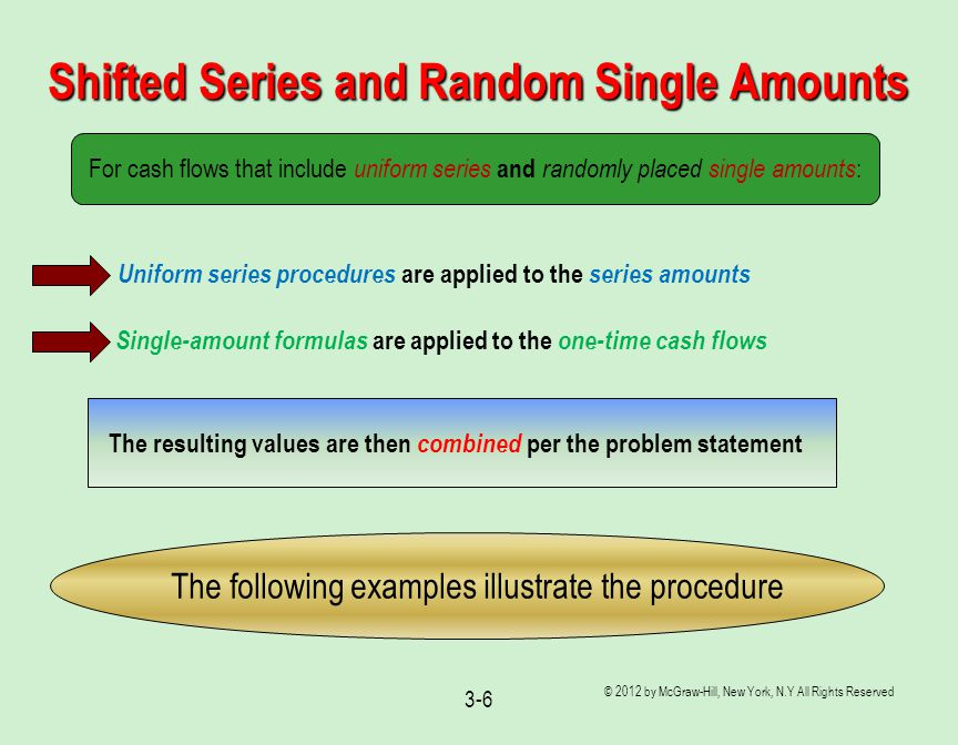 Shifted Series and Random Single Amounts