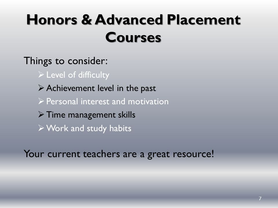 Honors & Advanced Placement Courses