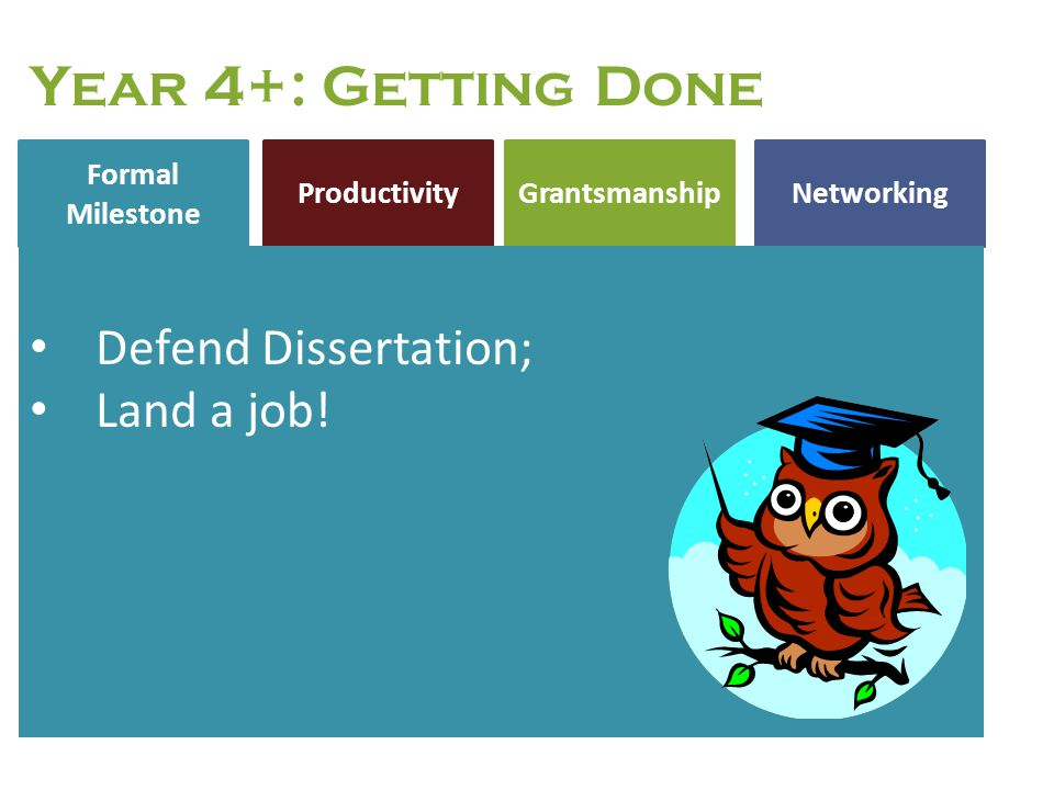 Year 4+: Getting Done Defend Dissertation; Land a job!