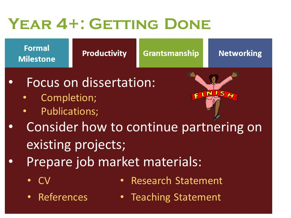 Year 4+: Getting Done Focus on dissertation:
