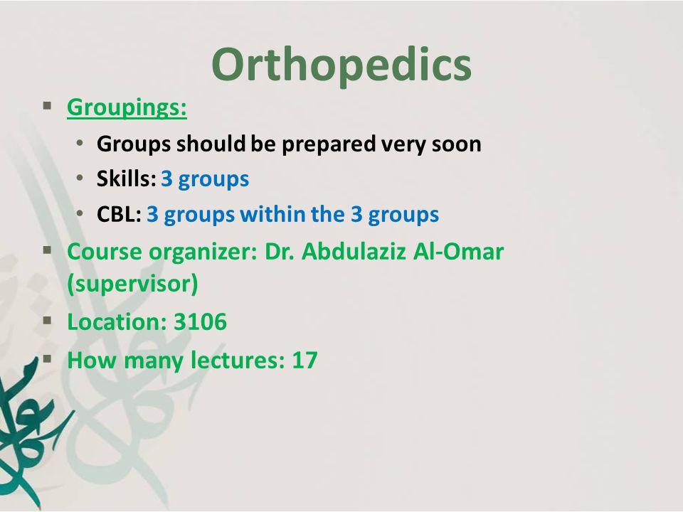 Orthopedics Groupings: