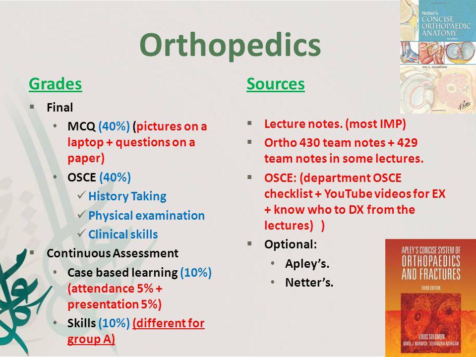 Orthopedics Grades Sources Final