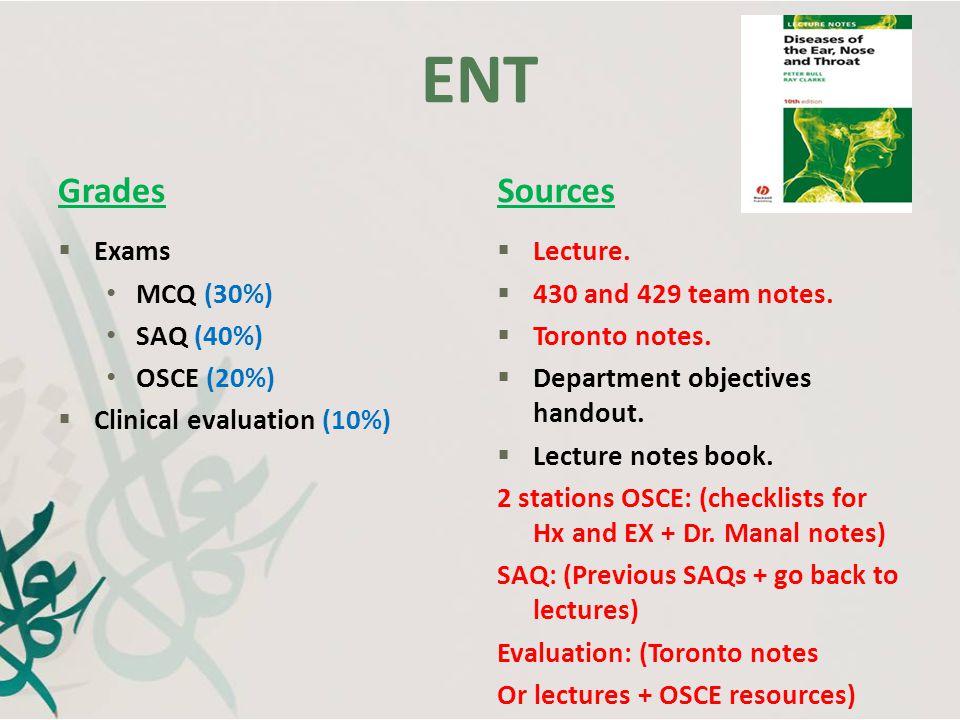 ENT Grades Sources Exams MCQ (30%) SAQ (40%) OSCE (20%)