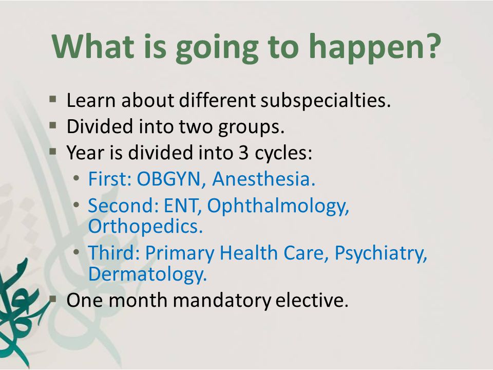 What is going to happen Learn about different subspecialties.