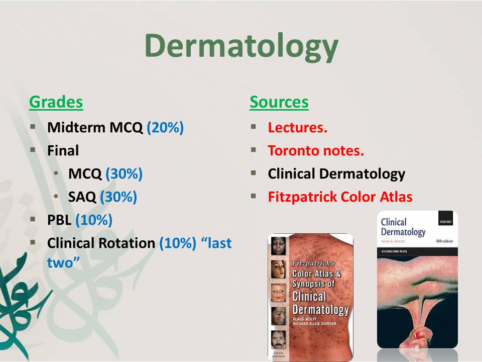 Dermatology Grades Sources Midterm MCQ (20%) Final MCQ (30%) SAQ (30%)