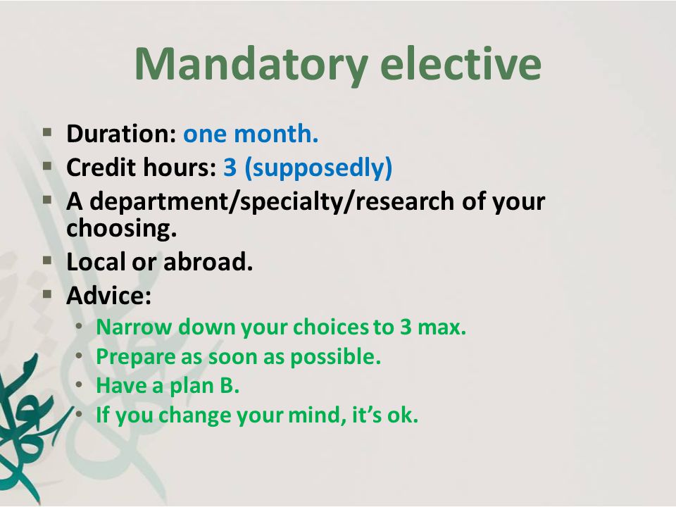 Mandatory elective Duration: one month. Credit hours: 3 (supposedly)