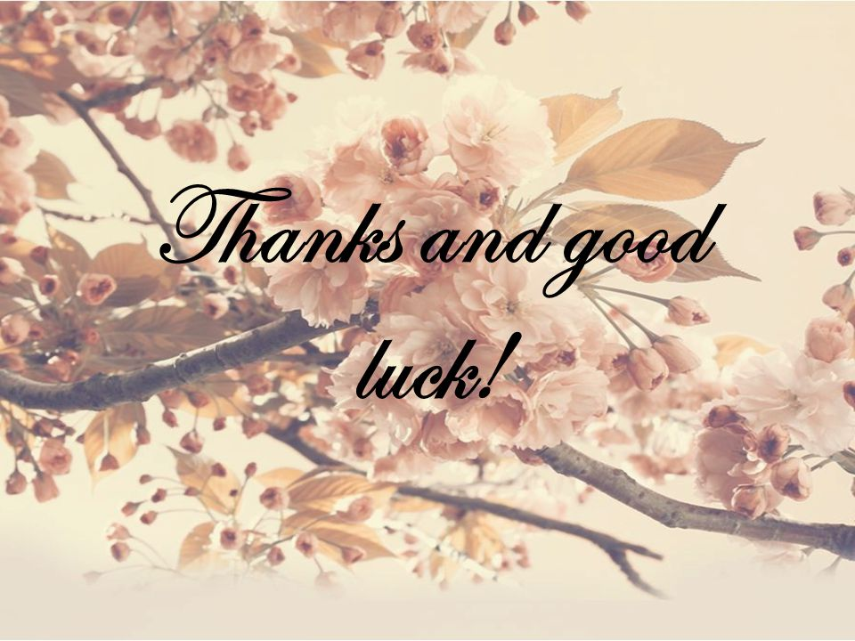 Thanks and good luck!
