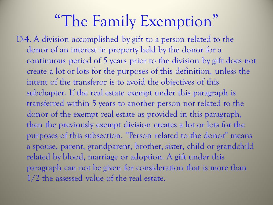 The Family Exemption
