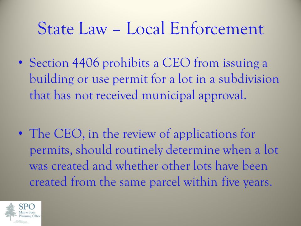 State Law – Local Enforcement
