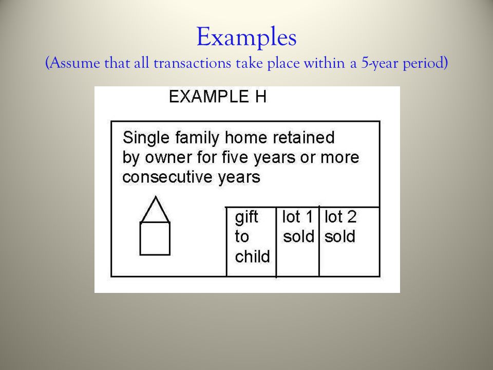 Examples (Assume that all transactions take place within a 5-year period)