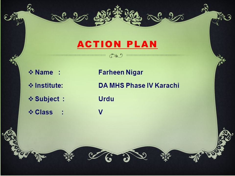 Action Plan Name : Farheen Nigar Institute: DA MHS Phase IV Karachi