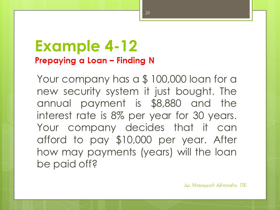 Example 4-12 Prepaying a Loan – Finding N
