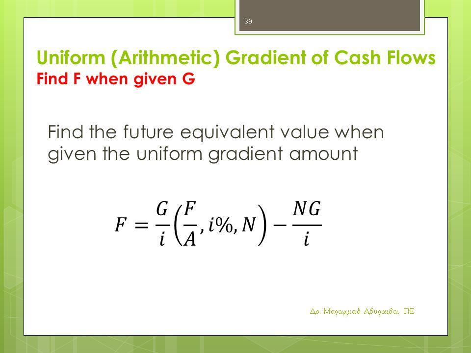 Uniform (Arithmetic) Gradient of Cash Flows Find F when given G