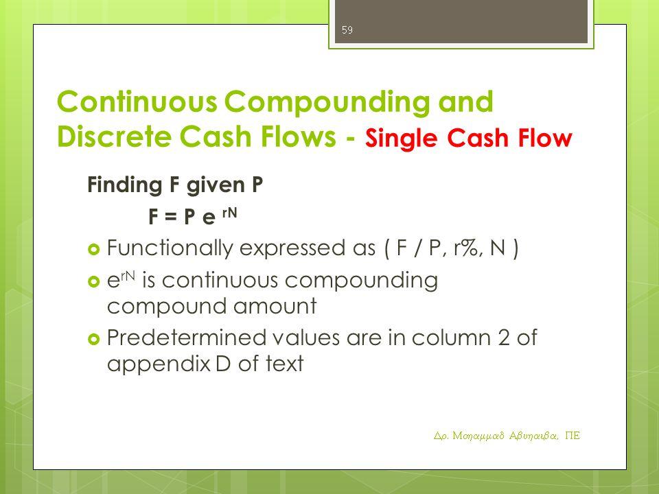 Continuous Compounding and Discrete Cash Flows - Single Cash Flow