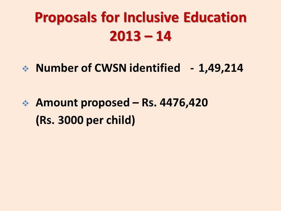 Proposals for Inclusive Education 2013 – 14