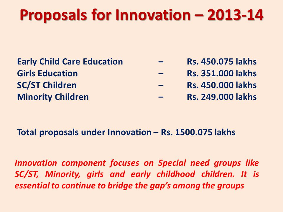 Proposals for Innovation –
