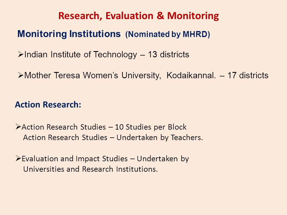 Research, Evaluation & Monitoring