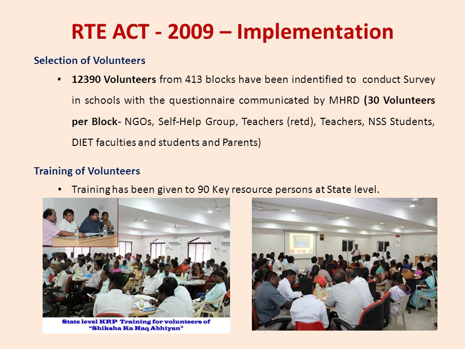 RTE ACT - 2009 – Implementation