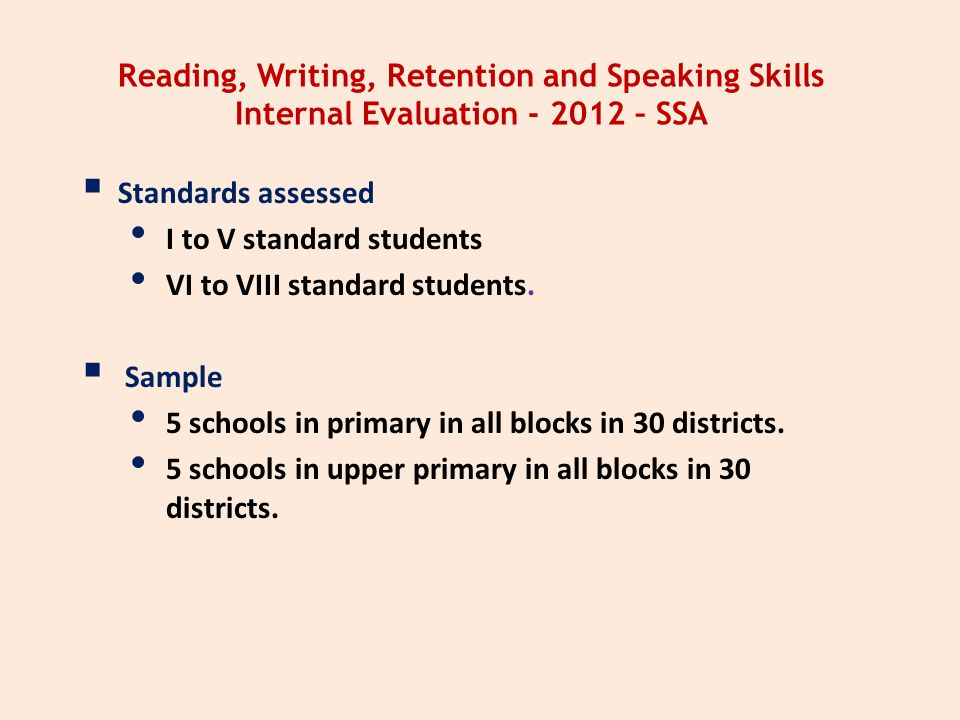 Reading, Writing, Retention and Speaking Skills