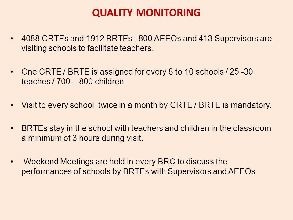 QUALITY MONITORING 4088 CRTEs and 1912 BRTEs , 800 AEEOs and 413 Supervisors are visiting schools to facilitate teachers.