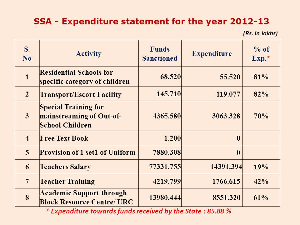 SSA - Expenditure statement for the year