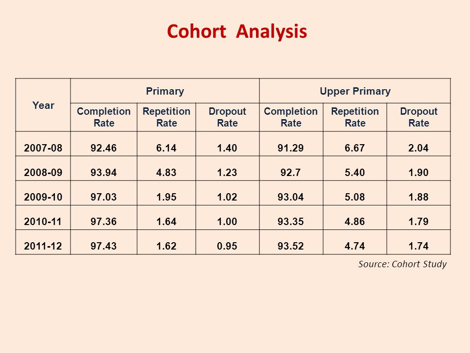 Cohort Analysis Year Primary Upper Primary 2007-08 92.46 6.14 1.40