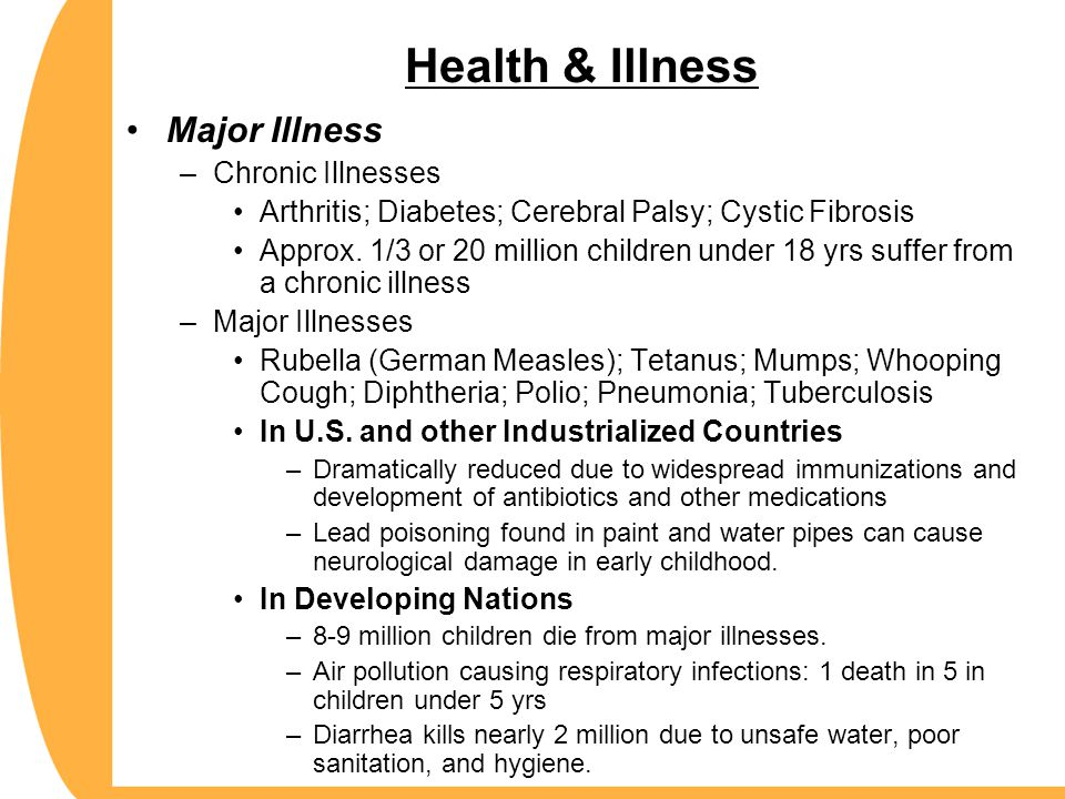Health & Illness Major Illness Chronic Illnesses