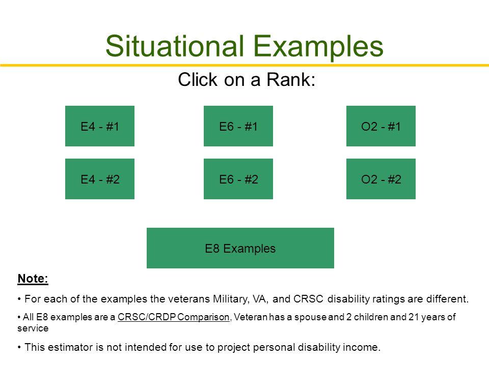 Situational Examples Click on a Rank: E4 - #1 E6 - #1 O2 - #1 E4 - #2