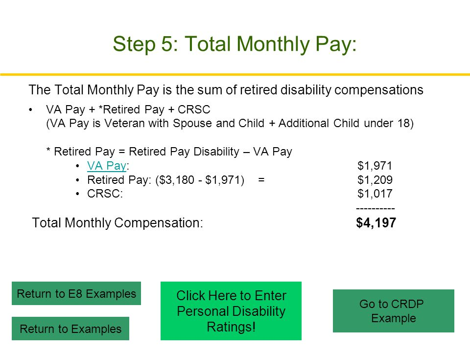 Step 5: Total Monthly Pay:
