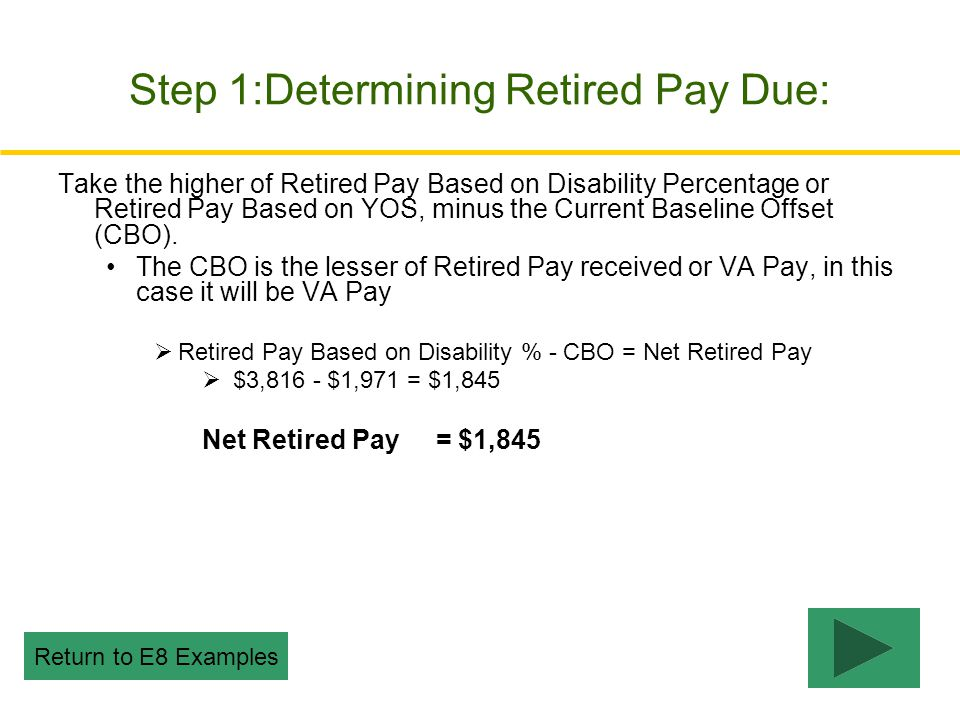 Step 1:Determining Retired Pay Due: