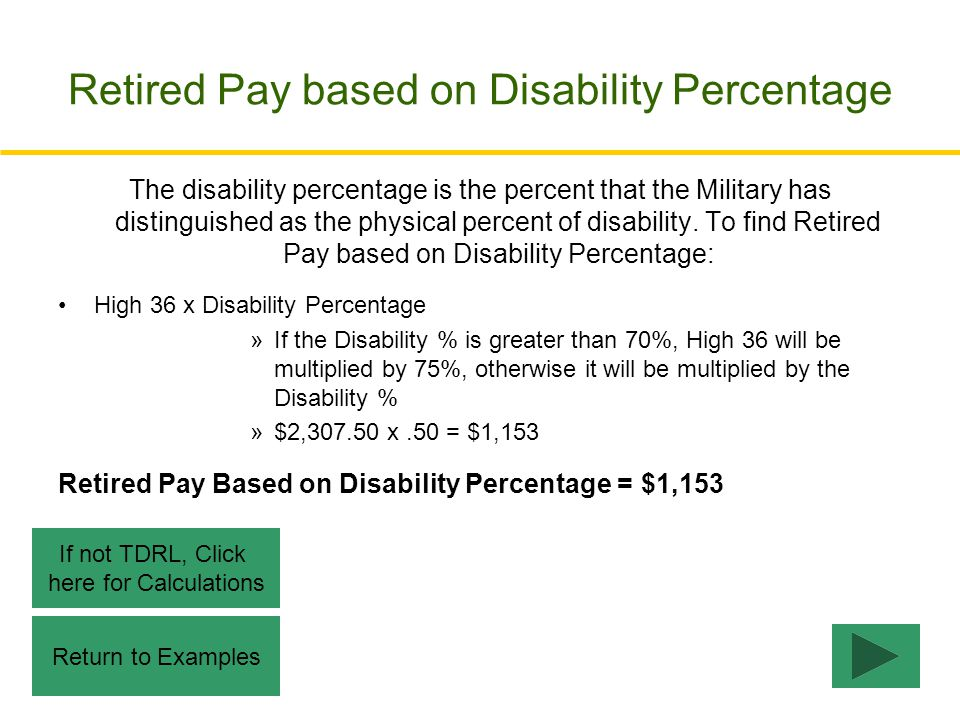 Retired Pay based on Disability Percentage