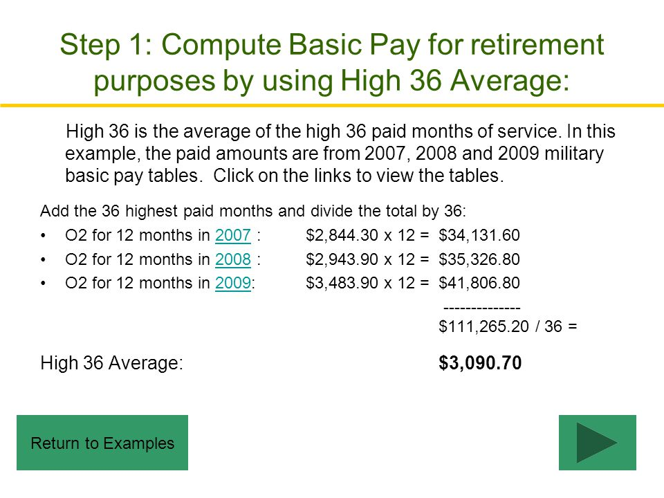 Step 1: Compute Basic Pay for retirement purposes by using High 36 Average: