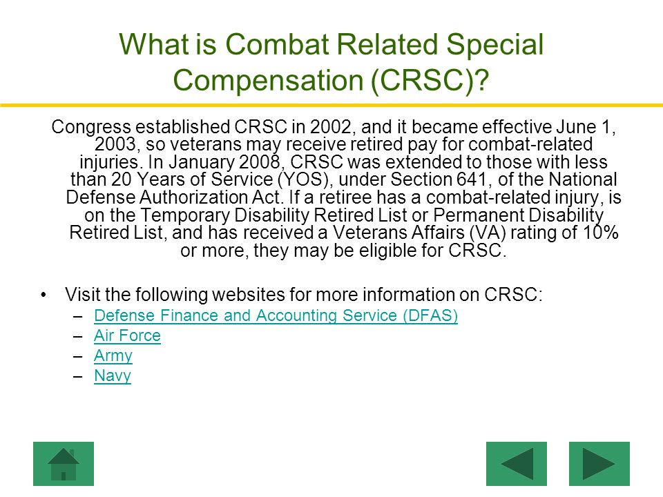 What is Combat Related Special Compensation (CRSC)