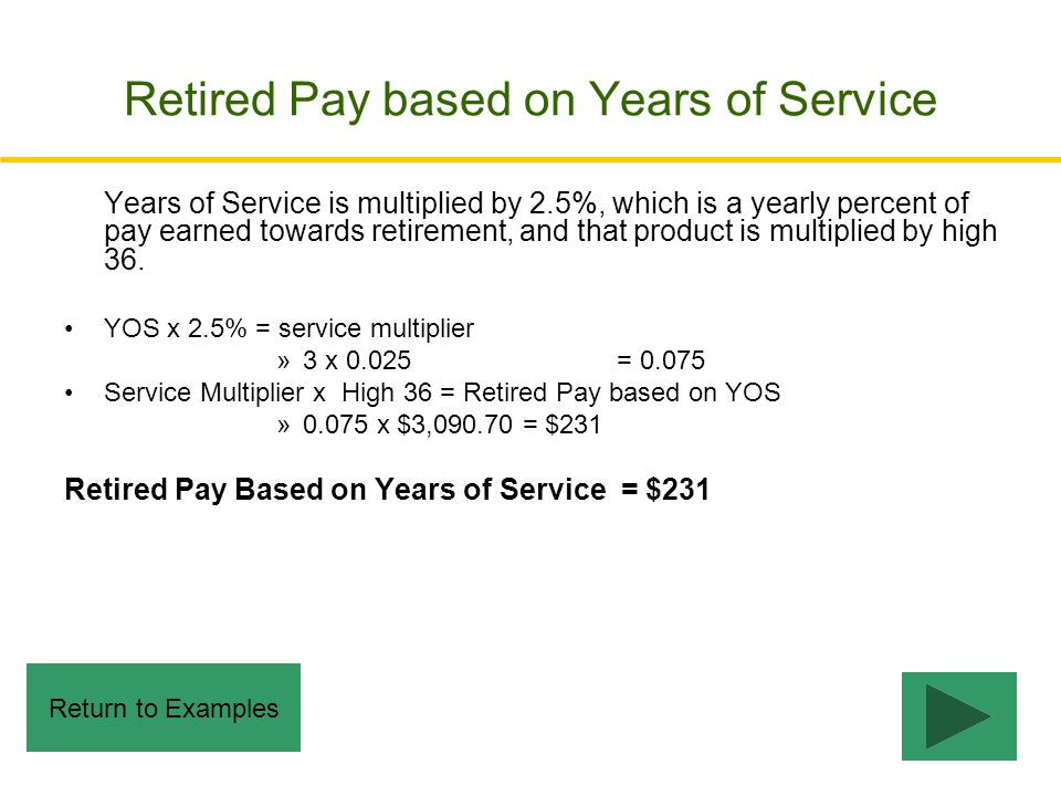 Retired Pay based on Years of Service