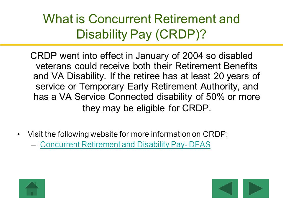 What is Concurrent Retirement and Disability Pay (CRDP)