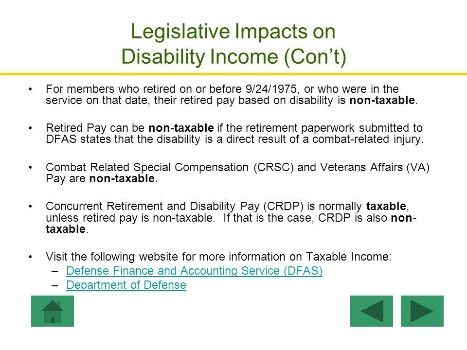Legislative Impacts on Disability Income (Con't)
