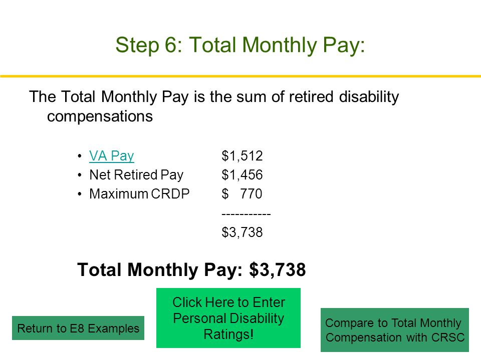 Step 6: Total Monthly Pay: