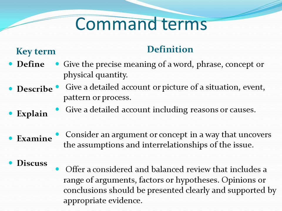 Command terms Definition Key term Define Describe Explain Examine