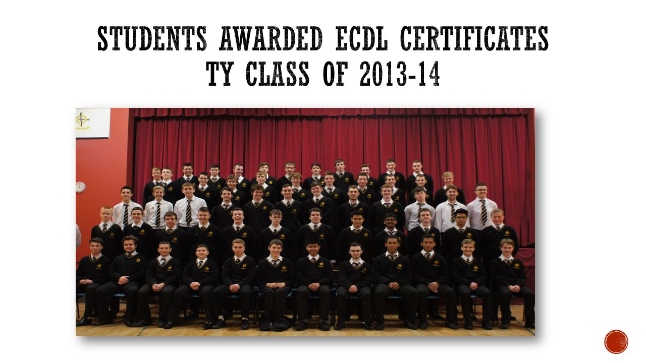 Students Awarded ECDL Certificates TY Class of 2013-14